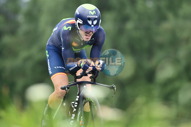 Jon Izaguirre Insausti (ESP) Movistar Team in action during Stage 18 of the 2016 Tour de France a17km individual mountain time trial from Sallanches to Megeve, France. 21st July 2016.<br /> Picture: ASO/A.Broadway | Newsfile<br /> <br /> <br /> All photos usage must carry mandatory copyright credit (&copy; Newsfile | ASO/A.Broadway)