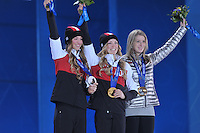 OLYMPICS: SOCHI: Medal Plaza, 09-02-2014, Freestyle Skiing, Ladies' Moguls, Chloe Dufour-Lapointe (CAN), Justin Dufour-Lapointe (CAN), Hannah Kearney (USA), ©photo Martin de Jong