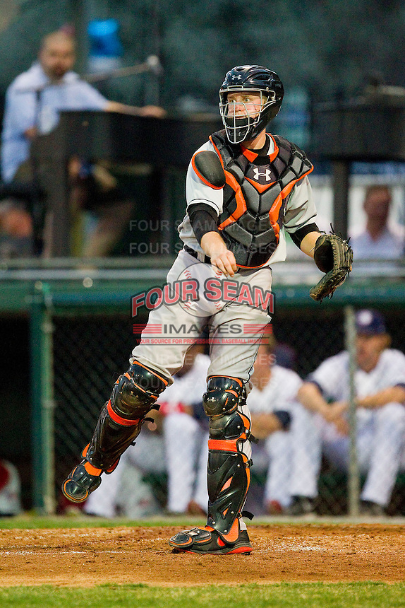 Delmarva Shorebirds catcher Wynston Sawyer (30) makes a throw to third base following a strike out during the game against the Hagerstown Suns at Municipal Stadium on April 11, 2013 in Hagerstown, Maryland.  The Shorebirds defeated the Suns 7-4 in 10 innings.  (Brian Westerholt/Four Seam Images)