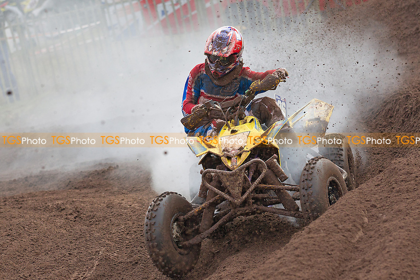 Murray Graham, Yamaha in apparent trouble as his quad smokes around the course - British Quad Championship Round 1 at the HIMX2015 Hawkstone International event, Market Drayton, Shropshire - 08/02/15 - MANDATORY CREDIT: Ray Lawrence/TGSPHOTO - Self billing applies where appropriate - contact@tgsphoto.co.uk - NO UNPAID USE