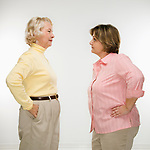 Caucasian senior woman and middle aged woman face to face arguing.