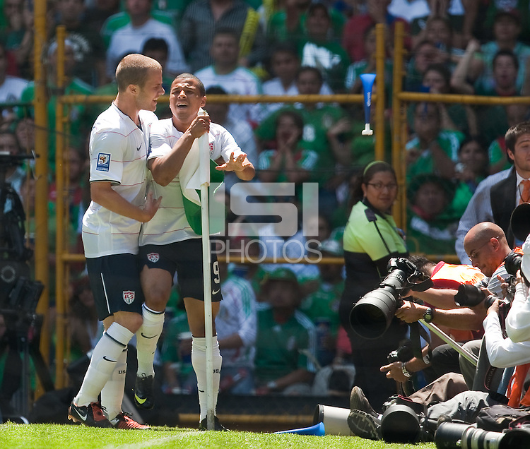 Michael Bradley and Charlie Davies celebrate Davies' goal. USA Men's National Team loses to Mexico 2-1, August 12, 2009 at Estadio Azteca, Mexico City, Mexico. .   .
