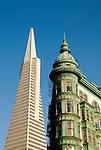 California, San Francisco: Old and new architecture, Zoetrope Building and Transamerica Pyramid, as seen from North Beach..Photo #: 18-casanf79325.Photo © Lee Foster 2008
