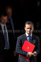 (From L to R) Jeremy Hunt MP (Secretary of State for Health), Chris Grayling MP (Secretary of State for Transport)&amp; Alun Cairns MP (Secretary of State for Wales).<br /> <br /> London, 12/06/2017. Today, Theresa May's reshuffled Cabinet met at 10 Downing Street after the General Election of the 8 June 2017. Philip Hammond MP - not present in the photos - was confirmed as Chancellor of the Exchequer. <br /> After 5 years of the Coalition Government (Conservatives &amp; Liberal Democrats) led by the Conservative Party leader David Cameron, and one year of David Cameron's Government (Who resigned after the Brexit victory at the EU Referendum held in 2016), British people voted in the following way: the Conservative Party gained 318 seats (42.4% - 13,667,213 votes &ndash; 12 seats less than 2015), Labour Party 262 seats (40,0% - 12,874,985 votes &ndash; 30 seats more then 2015); Scottish National Party, SNP 35 seats (3,0% - 977,569 votes &ndash; 21 seats less than 2015); Liberal Democrats 12 seats (7,4% - 2,371,772 votes &ndash; 4 seats more than 2015); Democratic Unionist Party 10 seats (0,9% - 292,316 votes &ndash; 2 seats more than 2015); Sinn Fein 7 seats (0,8% - 238,915 votes &ndash; 3 seats more than 2015); Plaid Cymru 4 seats (0,5% - 164,466 votes &ndash; 1 seat more than 2015); Green Party 1 seat (1,6% - 525,371votes &ndash; Same seat of 2015); UKIP 0 seat (1.8% - 593,852 votes); others 1 seat. <br /> The definitive turn out of the election was 68.7%, 2% higher than the 2015.<br /> <br /> For more info about the election result click here: http://bbc.in/2qVyNRd &amp; http://bit.ly/2s9ob51<br /> <br /> For more info about the Cabinet Ministers click here: https://goo.gl/wmRYRd