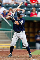 Ryan Eigsti (18) of the Northwest Arkansas Naturals at bat during a game against the Springfield Cardinals at Hammons Field on July 31, 2011 in Springfield, Missouri. Northwest Arkansas defeated Springfield 9-1. (David Welker / Four Seam Images)