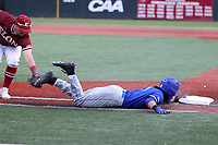 ELON, NC - FEBRUARY 28: Jordan Schaffer #1 of Indiana State University is save at first, avoiding the tag by J.P. Sponseller #5 of Elon University during a game between Indiana State and Elon at Walter C. Latham Park on February 28, 2020 in Elon, North Carolina.