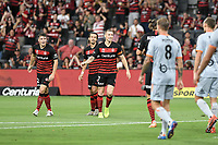1st January 2020; Bankwest Stadium, Parramatta, New South Wales, Australia; Australian A League football, Western Sydney Wanderers versus Brisbane Roar; Mitchell Duke of Western Sydney Wanderers celebrates after scoring to make it 1-0 to the Wanderers - Editorial Use