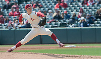 NWA Democrat-Gazette/J.T. WAMPLER Arkansas' Bryce Bonnin pitches against Kent State Sunday March 11, 2018 at Baum Stadium in Fayetteville. Arkansas won 11-4.