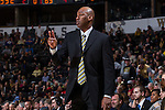 Wake Forest Demon Deacons head coach Danny Manning calls out a play during second half action against the Pittsburgh Panthers at the LJVM Coliseum on March 1, 2015 in Winston-Salem, North Carolina.  The Demon Deacons defeated the Panthers 69-66.  (Brian Westerholt/Sports On Film)