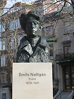 Emile Nellligan bust in Saint-Louise Square