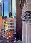 The Old State House is dwarfed by the modern high rises of downtown Boston.  Built in 1713, it is the oldest surviving public building in Boston.