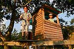 ROMANIA Banat, village Firiteaz, Bio Farmland, a farm run by swiss family / RUMAENIEN Banat, Firiteaz, BIO FARMLAND, betrieben von den Schweizer Einwanderern Familie Häni , Tochter Anne und Sohn Boris im Dorfkindergarten