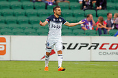 25th March 2018, nib Stadium, Perth, Australia; A League football, Perth Glory versus Melbourne Victory; Kosta Barbarouses of Melbourne Victory asks a question of referee Adam Fielding during the first half
