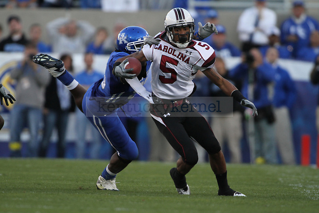 South Carolina's Stephen Garcia is dragged to the ground  during the first half of UK's home game against South Carolina, Saturday, Oct. 16, 2010. Photo by Brandon Goodwin   Staff