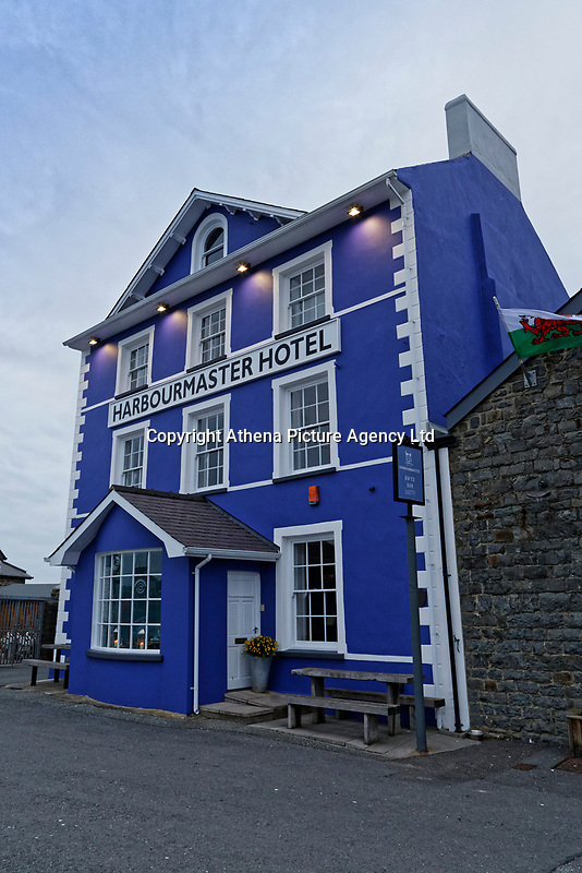 The Harbourmaster Hotel in Quay Parade, Aberaeron, Ceredigion, Wales, UK. Wednesday 21 March 2018