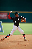 Noah Smith (5) of Marist High School in Chicago, IL during the Perfect Game National Showcase at Hoover Metropolitan Stadium on June 17, 2020 in Hoover, Alabama. (Mike Janes/Four Seam Images)