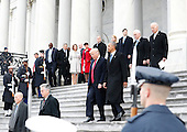 Former President of the United States Barack Obama and  United States President Donald Trump walk down the east front steps of the Capitol Building after Trump is sworn in at the 58th Presidential Inauguration on Capitol Hill in Washington, D.C. on January 20, 2017.  <br /> Credit: John Angelillo / Pool via CNP