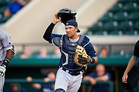 Lakeland Flying Tigers catcher Austin Green (30) during a game against the Jupiter Hammerheads on April 17, 2017 at Joker Marchant Stadium in Lakeland, Florida.  Lakeland defeated Jupiter 5-1.  (Mike Janes/Four Seam Images)