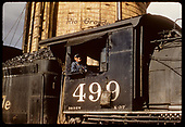 Close-up of D&amp;RGW #499 K-37 cab with engineer at water tank.<br /> D&amp;RGW