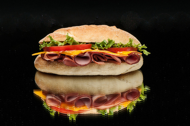 Ham and cheese sandwich with reflection, food photography, Victoria, BC