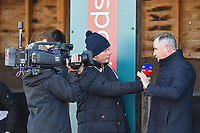Sky presenter Matt Chapman interviews trainer Chris Gordon during Horse Racing at Plumpton Racecourse on 2nd December 2019