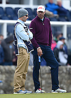 Stewart Cink of USA talks to his caddie during the Final Round of the 2015 Alfred Dunhill Links Championship at the Old Course, St Andrews, in Fife, Scotland on 4/10/15.<br /> Picture: Richard Martin-Roberts | Golffile