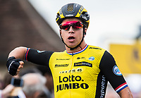 Picture by Alex Broadway/SWpix.com - 05/03/2018 - Cycling - 2018 Paris Nice - Stage Two - Orsonville to Vierzon  - Dylan Groenewegen of Team Lotto NL Jumbo celebrates winning the stage.<br /> <br /> NOTE : FOR EDITORIAL USE ONLY. THIS IS A COPYRIGHT PICTURE OF ASO. A MANDATORY CREDIT IS REQUIRED WHEN USED WITH NO EXCEPTIONS to ASO/Alex Broadway MANDATORY CREDIT/BYLINE : ALEX BROADWAY/ASO