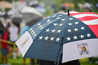 A U.S. Open umbrella deployed among hundreds at the 16th tee during Friday's second round of the 72nd U.S. Women's Open Championship, at Trump National Golf Club, Bedminster, New Jersey. 7/14/2017.<br /> Picture: Golffile | Ken Murray<br /> <br /> <br /> All photo usage must carry mandatory copyright credit (&copy; Golffile | Ken Murray)