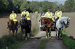 Pix: Shaun Flannery/shaunflanneryphotography.com...COPYRIGHT PICTURE>>SHAUN FLANNERY>01302-570814>>07778315553>>..17th October 1999..Animal Rights demonstration outside the mink farm at Cadeby Road, Sprotbrough..Mounted South Yorkshire Police officers..