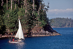 Vancouver Island, Barkley Sound, Sloop, Sailing single handed through the Broken Islands, Pacific Rim National Park, British Columbia, Canada,