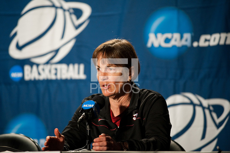 SPOKANE, WA - MARCH 27, 2011: Head Coach Tara VanDerveer during the off-day press conference, Stanford Women's Basketball, NCAA West Regionals on March 27, 2011.