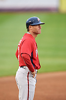 Potomac Nationals manager Tripp Keister (7) during the first game of a doubleheader against the Salem Red Sox on June 11, 2018 at Haley Toyota Field in Salem, Virginia.  Potomac defeated Salem 9-4.  (Mike Janes/Four Seam Images)