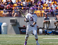 TD Ierlan (#3) makes a pass as UAlbany Lacrosse defeats Vermont 14-4  in the American East Conference Championship game at Casey Stadium, May 5.