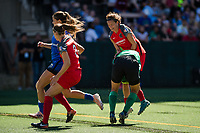 Seattle, WA - Saturday August 26, 2017: Katherine Reynolds, Adrianna Franch during a regular season National Women's Soccer League (NWSL) match between the Seattle Reign FC and the Portland Thorns FC at Memorial Stadium.