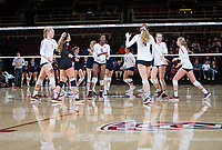 STANFORD, CA - December 1, 2018: Tami Alade, Meghan McClure, Kathryn Plummer, Morgan Hentz, Jenna Gray, Kate Formico at Maples Pavilion. The Stanford Cardinal defeated Loyola Marymount 25-20, 25-15, 25-17 in the second round of the NCAA tournament.