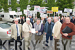 Paddy Sullivan chairman North Kerry Anglers who handed over the protest letter to members of the Shannon Board of Fisheries on Wednesday in which in the back  ground local anglers who were in protest l-r: Joe O'Donoghue, Martin McEnrol, Paddy Sullivan, Jim Horgan, Paddy Mackey and Andy McCallian all members of the Board of Fisheries and Anglers................................... ....
