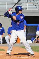 Kingsport Mets catcher Tomas Nido #7 awaits a pitch during a game against the Bristol White Sox at Hunter Wright Stadium on July 28, 2012 in Kingsport, Tennessee. The Mets defeated the White Sox 9-5. (Tony Farlow/Four Seam Images).