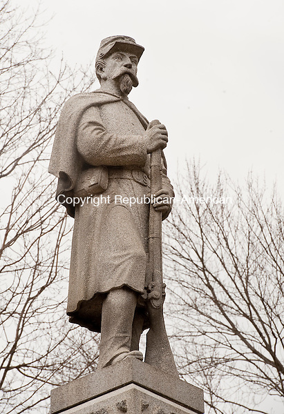 NAUGATUCK ,  CT,  CT-041115JS67- The Soldiers' Monument sits on the Green in Naugatuck. Dedicated in 1885,  a campaign to erect a monument started in 1879 with the Isbell Post of the Grand Army of the Republic. <br /> Jim Shannon Republican-American