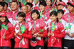 (L to R) <br /> Sachi Mochida, <br /> Rikako Ikee, <br /> Suzuka Hasegawa (JPN), <br /> AUGUST 2, 2016 : <br /> Welcome Ceremony for the Japanese delegation <br /> during the Rio 2016 Olympic Games <br /> at Athlete's Village, in Rio de Janeiro, Brazil. <br /> (Photo by YUTAKA/AFLO SPORT)