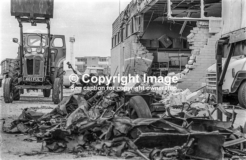 No warning Provisional IRA explosion injured 2 workers in the cargo area of Aldergrove (later Belfast International) Airport near Belfast, N Ireland, UK, 29th June 1973. The building housed the British European Airways (later British Airways) staff canteen. 197306290460<br />