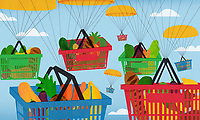 Parachutes carrying lots of shopping baskets full of groceries