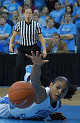 UNC's Italee Lucas is so close, yet so far away. (Photo by Rob Rowe)
