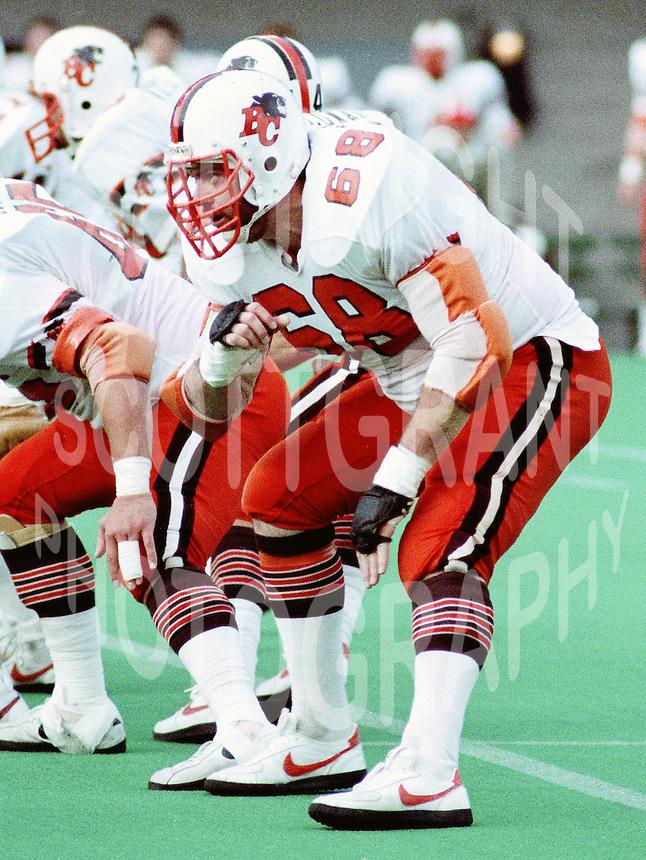 John Blain BC Lions 1984. Copyright photograph Scott Grant/
