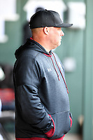 Head coach Chad Holbrook of the South Carolina Gamecocks watches the action in the Reedy River Rivalry game against the Clemson Tigers on Saturday, March 4, 2017, at Fluor Field at the West End in Greenville, South Carolina. Clemson won, 8-7. (Tom Priddy/Four Seam Images)