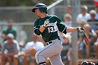 Michigan State Spartans shortstop Royce Ando (13) at bat during a game against the Illinois State Redbirds on March 8, 2016 at North Charlotte Regional Park in Port Charlotte, Florida.  Michigan State defeated Illinois State 15-0.  (Mike Janes/Four Seam Images)