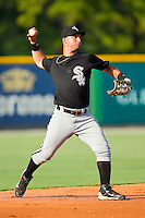Third baseman Rangel Ravelo #7 of the Bristol White Sox makes a throw to first base against the Burlington Royals at Burlington Athletic Park on July 10, 2011 in Burlington, North Carolina.  The White Sox defeated the Royals 4-3.   (Brian Westerholt / Four Seam Images)