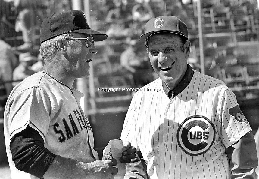 Managers Charlie Fox and Leo Durocher ..(1972 photo/ Ron Riesterer)