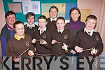 Students at Lissivigeen National School were treated to music workshops last week by renowned composer, Elaine Agnew to encourage the development of arts in the school. .Back L-R Teacher Miriam O'Sullivan Long, Oisin O'Se?, Victorija Aleksejeuko and Composer Elaine Agnew. .Front L-R Lisa O'Leary, Fred Bastable, Lauren O'Sullivan and Ben Howard.