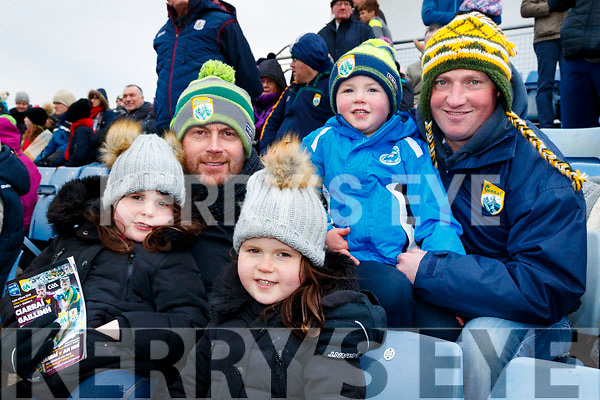 Patrick, John and Dara Leen with Kieran O'Connor, Ballymacelligott, pictured at the Allianz Football League Kerry v Galway, at Austin Park, Tralee, on Sunday last.