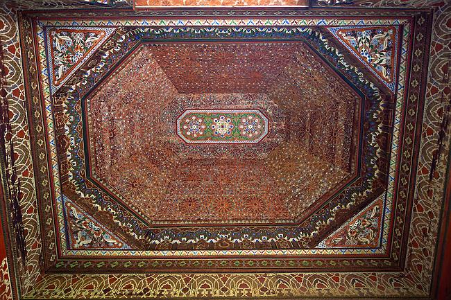 Berber arabesque wood inlaid ceiling.The Petite Court, Bahia Palace, Marrakesh, Morroco